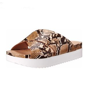 Wanted Brown Snakeskin Chiffon Platform Sandal